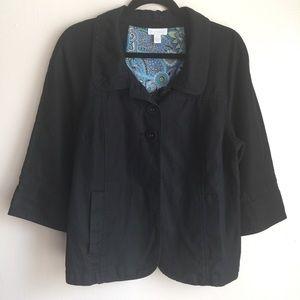 Charter Club Short Jacket Blazer Size XL Navy Blue